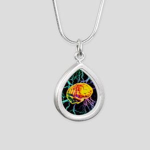 Brain activity Silver Teardrop Necklace