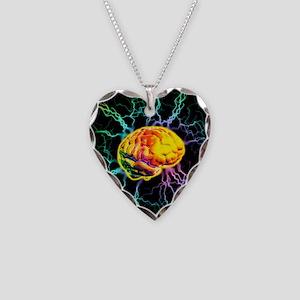 Brain activity Necklace Heart Charm