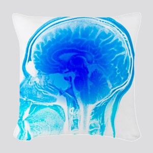 Brain anatomy, MRI scan Woven Throw Pillow