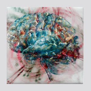 Brain, abstract image Tile Coaster