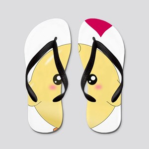 Cute Chick and Heart Flip Flops