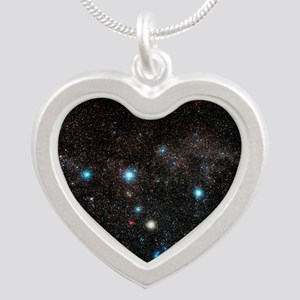Cassiopeia constellation Silver Heart Necklace