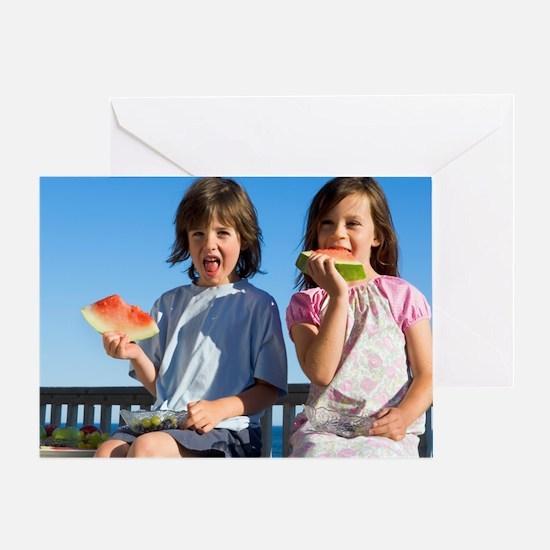Children eating watermelon Greeting Card