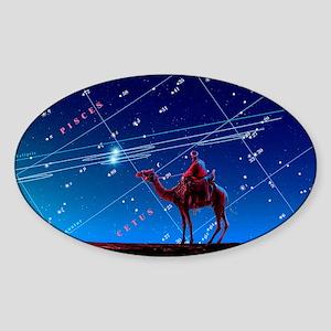 Christmas star as planetary conjunc Sticker (Oval)