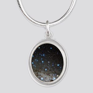 Centaurus and Crux constellat Silver Oval Necklace