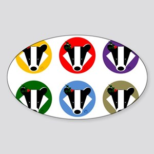 Christmas Badger Face Sticker (Oval)