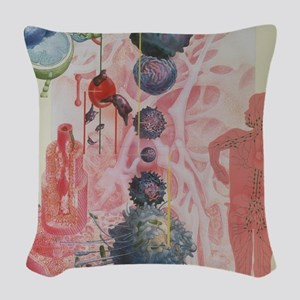 Collage artwork of cells of th Woven Throw Pillow