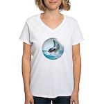 Bubble Dolphin Women's V-Neck T-Shirt