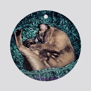 Burmese in Teal Cat Bed Round Ornament