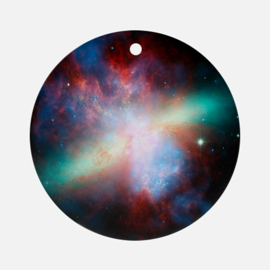 Cigar galaxy (M82), composite image Round Ornament