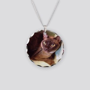 Champagne Burmese Box Cat Necklace Circle Charm