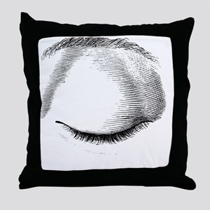 Closed eye Throw Pillow