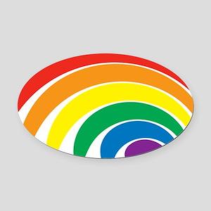 Funky Rainbow Oval Car Magnet