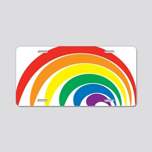 Funky Rainbow Aluminum License Plate