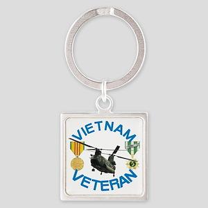 Chinook Vietnam Veteran Square Keychain