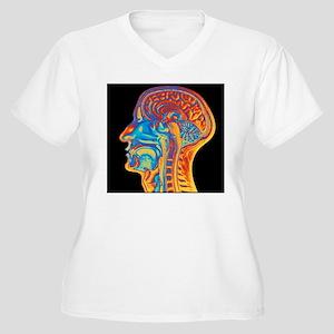 Coloured MRI scan Women's Plus Size V-Neck T-Shirt