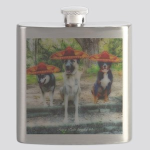Three Amigo Dogs Flask