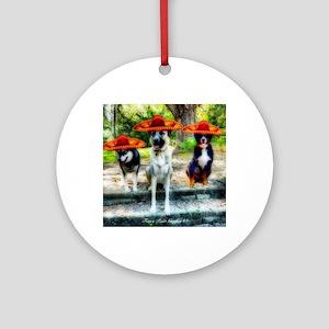 Three Amigo Dogs Round Ornament