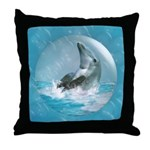 Bubble Dolphin Throw Pillow