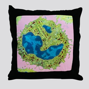 Coloured TEM of a neutrophil from bon Throw Pillow
