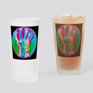 Coloured X-ray of bones in the wris Drinking Glass