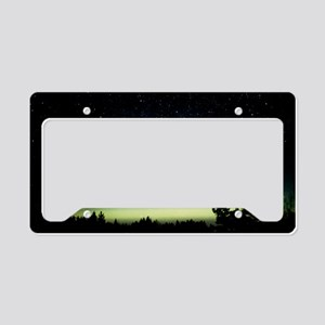 Comet Hale-Bopp and aurora bo License Plate Holder