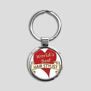 Hair Stylist Round Keychain