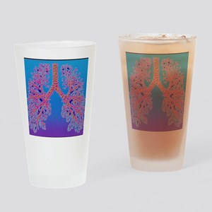 Computer art of human lung trachea Drinking Glass