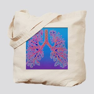 Computer art of human lung trachea Tote Bag