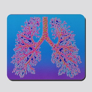 Computer art of human lung trachea Mousepad