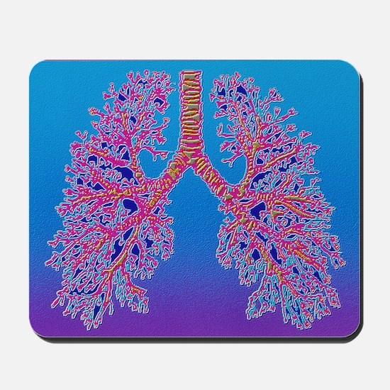 Computer art of human lung trachea Mousepad