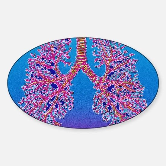 Computer art of human lung trachea Sticker (Oval)