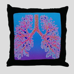 Computer art of human lung trachea Throw Pillow