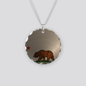 Gold California Republic Necklace Circle Charm