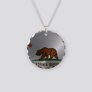 Steel California Republic Necklace Circle Charm