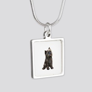 Brindle Cairn (#14) Silver Square Necklace