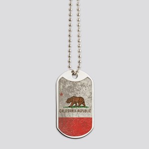 Grunge California Republic Dog Tags