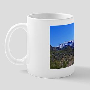 Superstition Panorama with Snow Mug