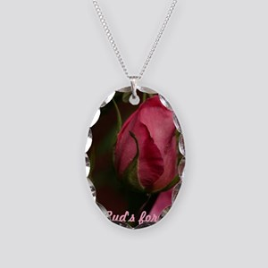 Pink Bud for You Necklace Oval Charm