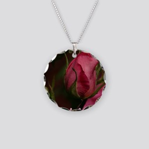 Pink Bud for You Necklace Circle Charm