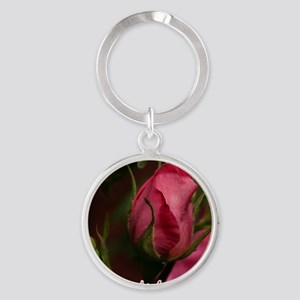 Pink Bud for You Round Keychain