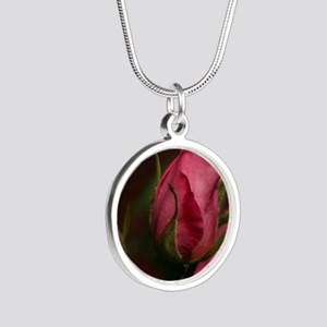 Pink Bud for You Silver Round Necklace