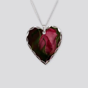 Pink Bud for You Necklace Heart Charm