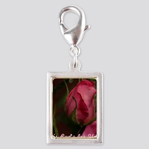 Pink Bud for You Silver Portrait Charm