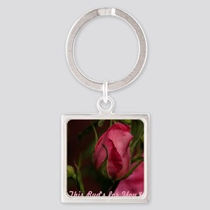 Pink Bud for You Square Keychain
