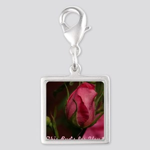 Pink Bud for You Silver Square Charm