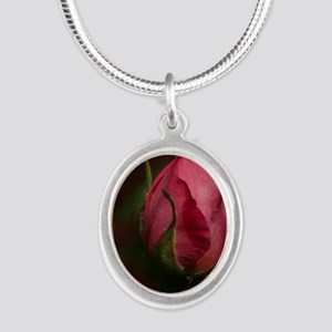 Pink Bud for You Silver Oval Necklace