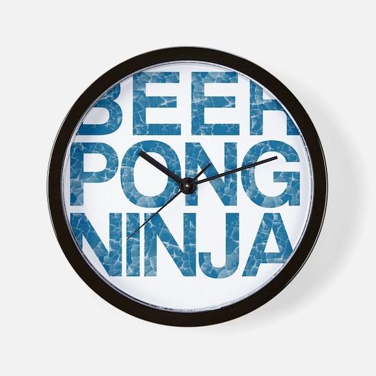 Beer Pong Ninja, Blue, Wall Clock