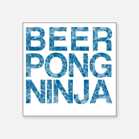 "Beer Pong Ninja, Blue, Square Sticker 3"" x 3"""