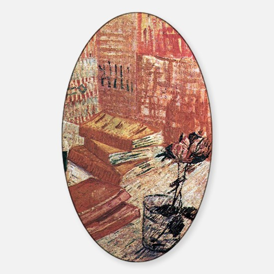 Van Gogh French Novels and Rose Sticker (Oval)